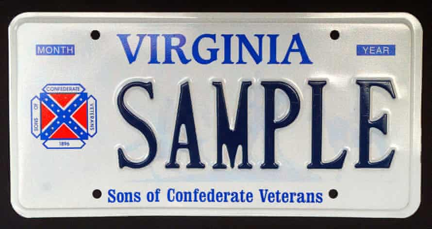 A sample Virginia license plate containing the logo of the Sons Of Confederate Veterans, which incorporates the Confederate battle flag.