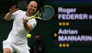 Adrian Mannarino returns against Roger Federer.