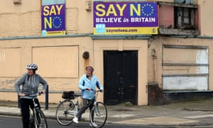 """Say No Believe in Britain"" boards  on a disused, dilapidated building in Redcar, North Yorkshire,"