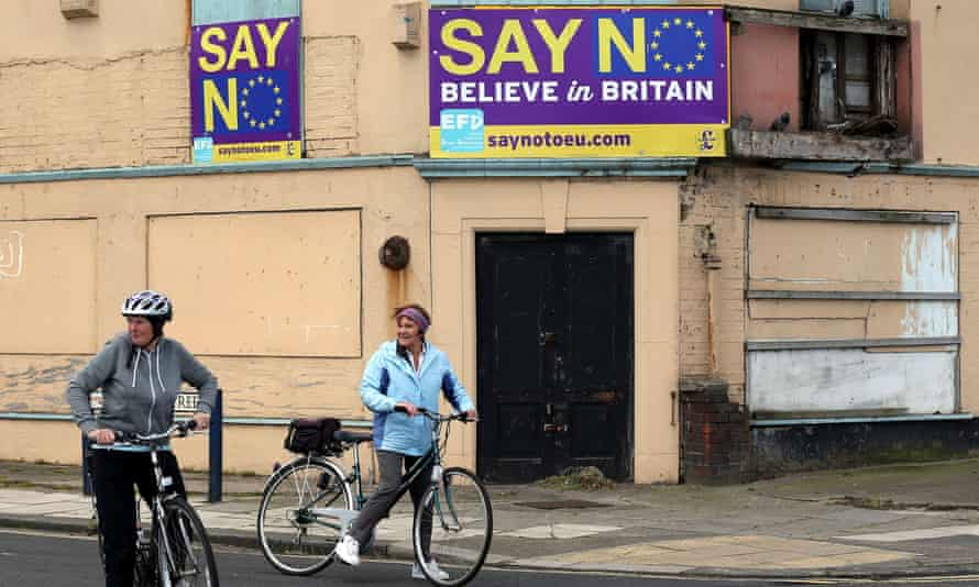 """""""Say No Believe in Britain"""" boards  on a disused, dilapidated building in Redcar, North Yorkshire,"""