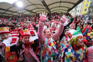 Revellers take part in Women's Carnival Day in Cologne, Germany