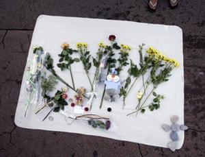 Flowers are laid for Milan, 2, at the place where he died following the deadly truck attack on the Promenade des Anglais