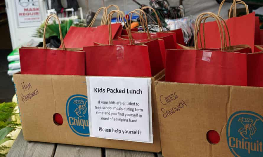 Packed lunches offered for free at a post office in Brompton-On-Swale, 26 October 2020.