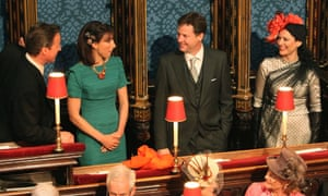 David and Samantha Cameron, Nick Clegg and Miriam González Durántez at the royal wedding in 2011.