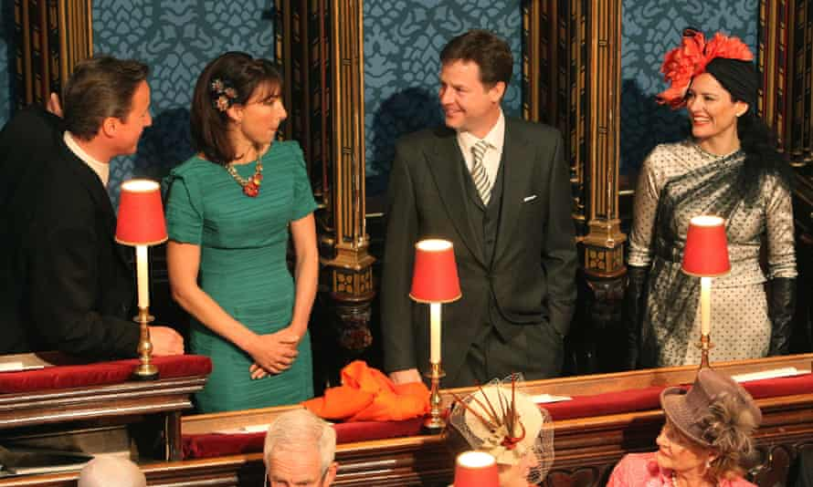 David and Samantha Cameron, Nick Clegg and Miriam González Durántez at the royal wedding in 2011.