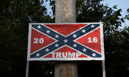 A Confederate flag with the name of US president Donald Trump, North Carolina, May 2017