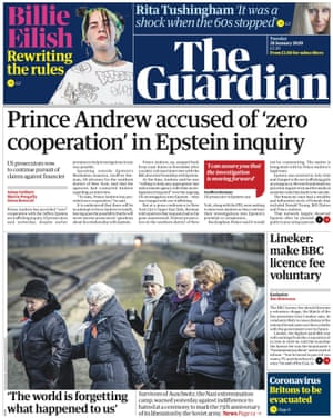 Guardian front page, Tuesday 28 January 2020