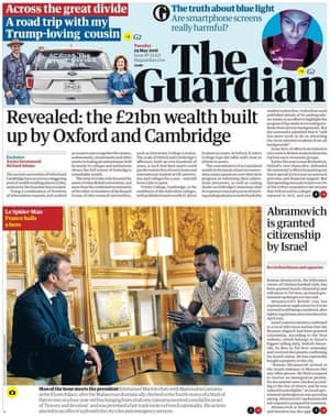 Guardian front page, Tuesday 29 May 2018