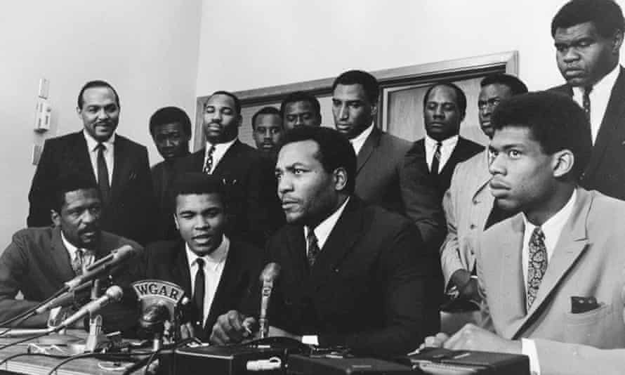 Kareem Abdul-Jabbar (far right), meets with other black athletes, including Muhammad Ali and Jim Brown to discuss, to discuss the Vietnam War in 1968