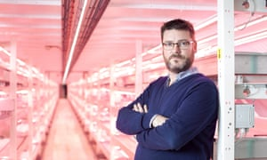 Richard Ballard (pictured) and the rows upon rows of hydroponic beds underneath Clapham, south London
