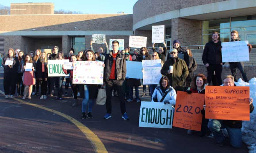Supporters greet pupils on their way to Saturday morning detention at Pennridge High School