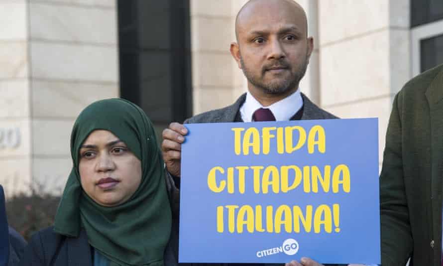 The parents of Tafida Raqeeb, Shelima Begum and Mohammed Raqeeb in Genoa