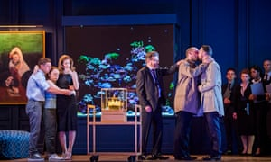 Samuel Boden, Ocean Barrington-Cook, Barbara Hannigan, Peter Hoare, Stéphane Degout and Gyula Orendt in Lessons in Love and Violence at the Royal Opera House.