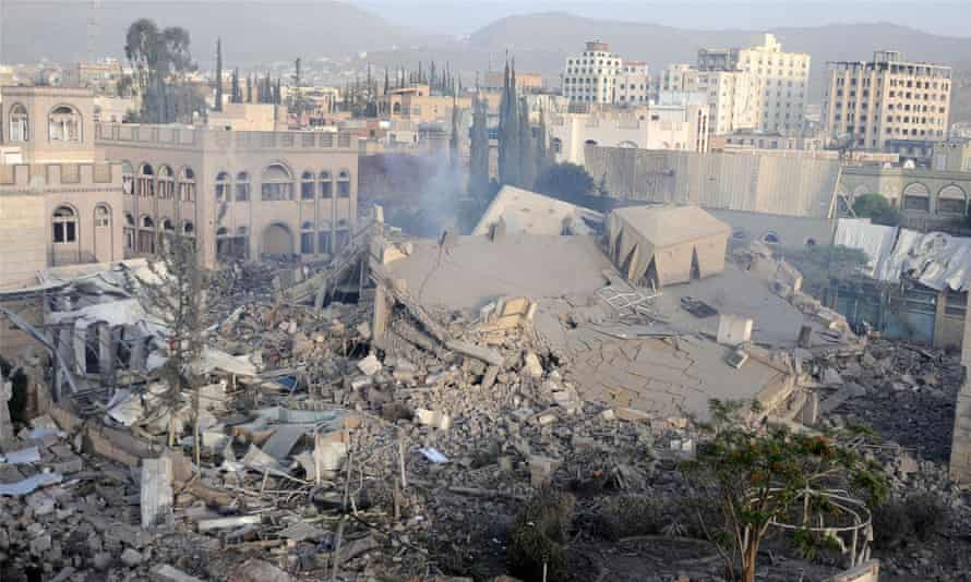 The ruins of a destroyed building hit by airstrikes in Sana'a, Yemen on 6 June.