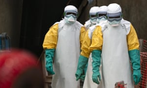 Health workers dressed in protective gear at an Ebola treatment centre in Beni, Congo