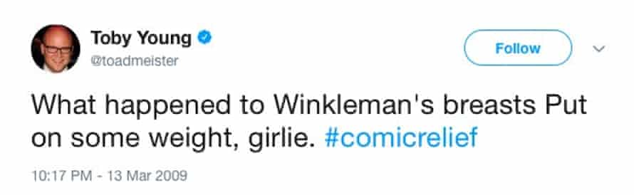 Toby Young tweets about Claudia Winkleman's breasts during Comic Relief
