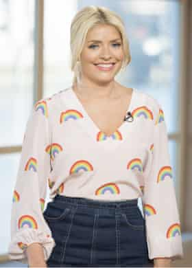 Holly Willoughby wearing a Tabitha Webb rainbow blouse on This Morning in January 2017
