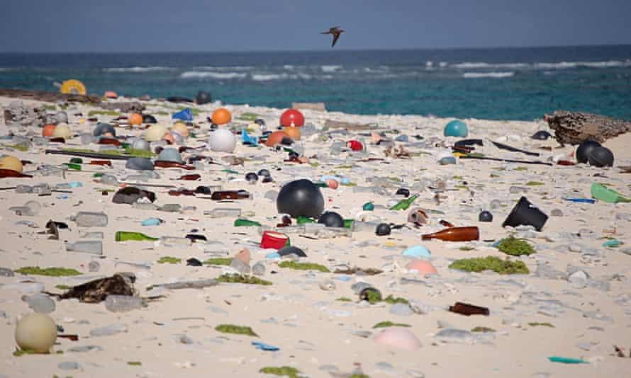 Plastic and marine debris washed ashore on the beach on Laysan Island in the Hawaiian Islands National Wildlife Refuge.