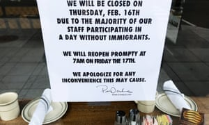 A sign in the window of Ted's Bulletin Restaurant in Washington DC on Thursday.