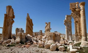 Ancient ruins damaged by Isis militants.
