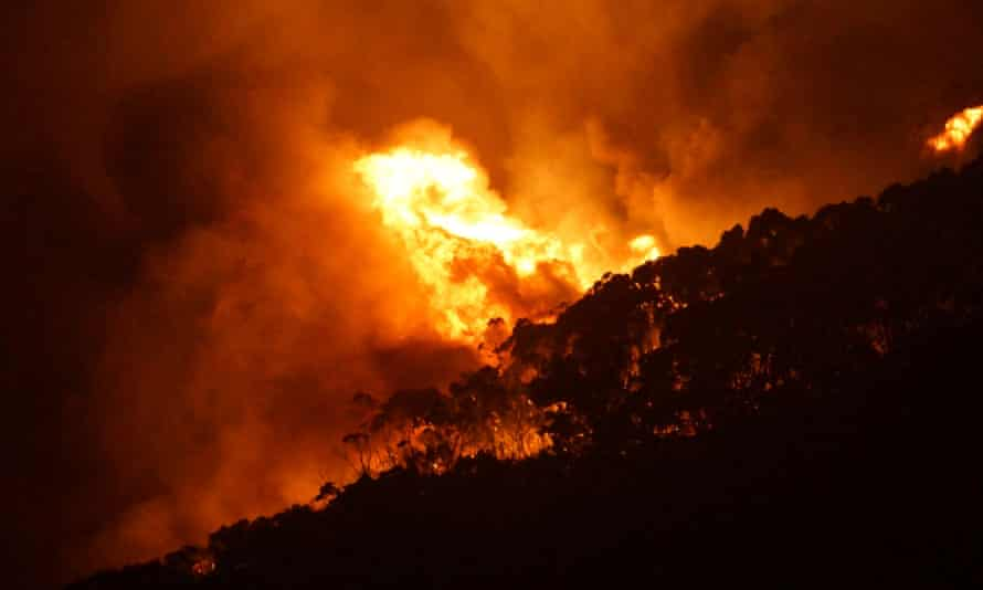 A wildfire burns out of control on Christmas Day in Victoria state, Australia