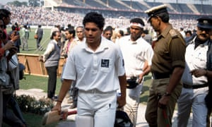 Batsmen Sachin Tendulkar and Vinod Kambli leave the field at the end of the first Test in Calcutta, which India won by 8 wickets.