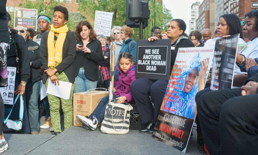 A vigil in remembrance of black women and girls killed by US police, New York, 2015.