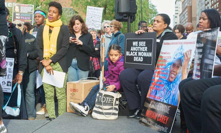 Protesters at a #SayHerName vigil held in New York in 2015.