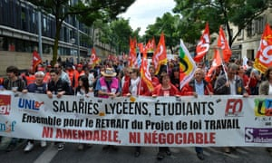Demonstrators march during a protest against labour and employment law reform in Bordeaux.