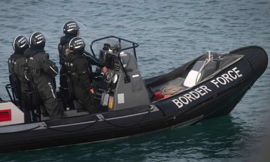 A Border Force crew on patrol in Dover on 29 December 2018.