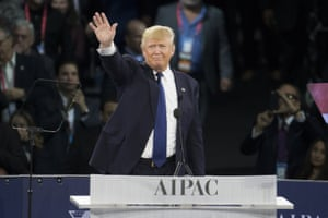 Donald Trump waves after giving a speech at the 2016 American Israel Public Affairs Committee (Aipac) conference in Washington.