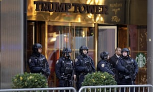 New York City Police stand guard outside Trump Tower in New York.