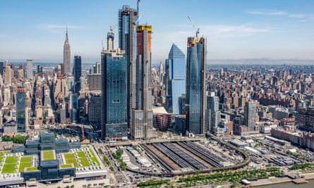 An aerial view of Hudson Yards in May 2018.
