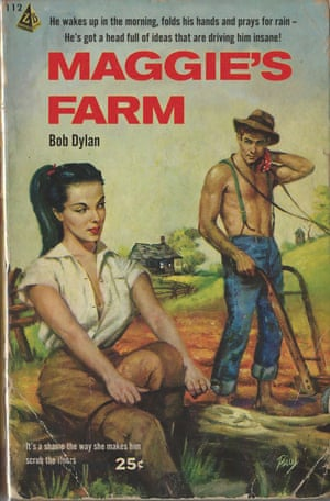 Maggie's Farm by Bob Dylan reinvented as a pulp fiction book cover by artist Todd Alcott.