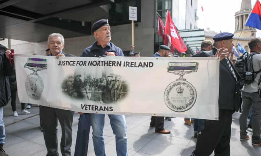 Military veterans march at a protest in London earlier this month