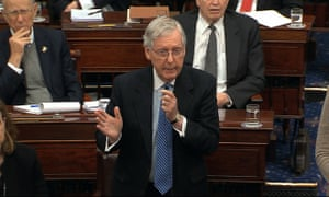 Mitch McConnell speaks during the trial.