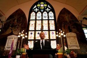 Senator Cory Booker gives a speech on gun violence at Emanuel African Methodist Episcopal Church in Charleston, South Carolina, in August.