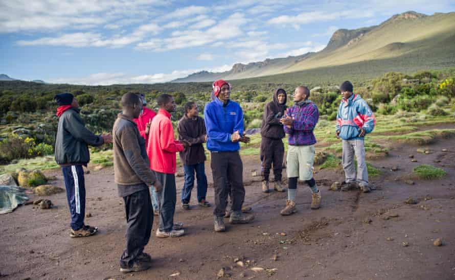 A group of porters on Kilmanjaro