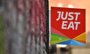 A sign for Just Eat at a restaurant in London.