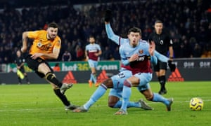 Patrick Cutrone scores Wolves' second goal minutes after coming off the substitutes' bench to seal the win over West Ham.