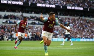 John McGinn of Aston Villa celebrates after opening the scoring.