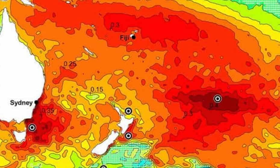 A warming blob off the coast of New Zealand is seen in dark red