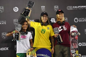 Sao Paulo, BrazilBrazilian skateboarder Pamela Rosa celebrates with Brazilian Rayssa Leal and Japanese Aori Nishimura after getting the first, second and third places respectively in the Street League Skateboarding world championship. The championship qualifies for the Tokyo 2020 where Skateboarding will feature for the first time as an Olympic event
