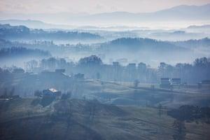 Croatian landscape photographed along the road that links Bihac to Velika Kladusa in Bosnia