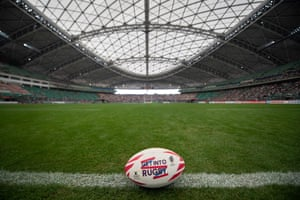 FILES-RUGBYU-WC-2019-JPN-STADIUM(FILES) In this file photo taken on June 9, 2018, a ball is displayed on the pitch at the Oita Bank Dome stadium,one of the venues for 2019 Rugby World Cup, in Oita. - Japan aims to bring the Rugby World Cup to as wide an audience as possible and host cities stretch from the northern island of Hokkaido to Fukuoka, on the western tip of the archipelago. (Photo by Martin BUREAU / AFP)MARTIN BUREAU/AFP/Getty Images