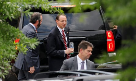 Rod Rosenstein leaves the White House after the meeting.