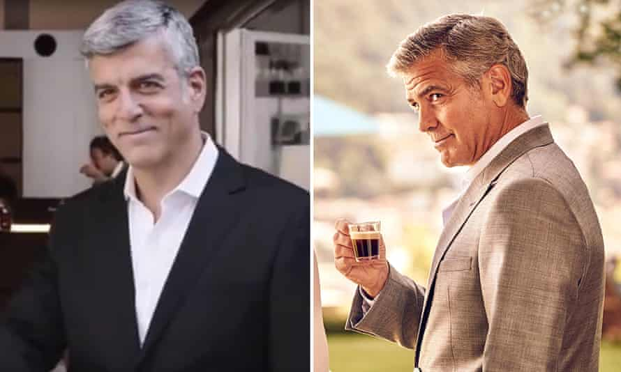George Clooney, right, and Espresso Club's lookalike.
