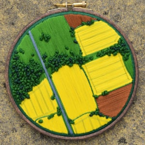 Embroidered aerial landscapes by Victoria Rose Richards.