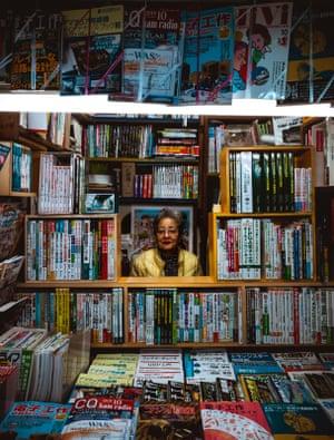 A women in a bookstore