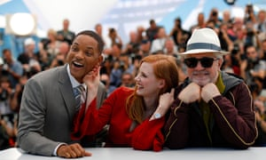Stars come out … actors Will Smith and Jessica Chastain are on the 2017 festival jury, presided over by director Pedro Almodóvar, right.